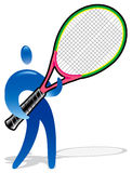Tennis player. With huge raquet Royalty Free Illustration