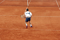 Tennis player. After return stock photo