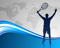 Tennis Player on Abstract Blue Background with Worl Map Stock Photography