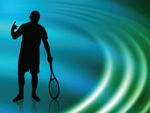 Tennis Player on Abstract Liquid Wave Background Stock Photography
