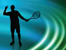 Tennis Player on Abstract Liquid Wave Background Royalty Free Stock Photography