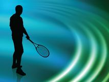 Tennis Player on Abstract Liquid Wave Background Royalty Free Stock Photos