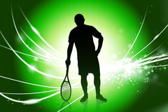 Tennis Player on Abstract Modern Light Background Stock Image