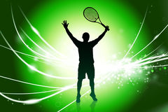 Tennis Player on Abstract Modern Light Background Stock Photography