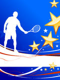 Tennis Player on Abstract Patriotic Background Royalty Free Stock Image