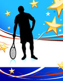 Tennis Player on Abstract Patriotic Background Stock Photo