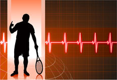 Tennis Player with Abstract Pulse Red Background Stock Photos