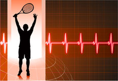 Tennis Player with Abstract Pulse Red Background Royalty Free Stock Photo