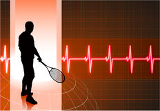 Tennis Player with Abstract Pulse Red Background Royalty Free Stock Images