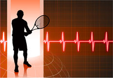 Tennis Player with Abstract Pulse Red Background Stock Photo