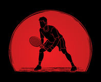Tennis player action , Man play tennis. Graphic vector Vector Illustration