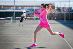 Tennis player action. Shot royalty free stock photos