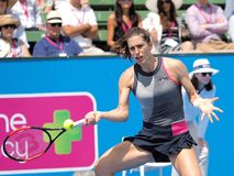 Tennis player Andrea Petkovic preparing for the Australian Open at the Kooyong Classic Exhibition tournament Royalty Free Stock Image