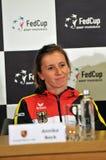 Tennis player Annika Beck during a press conference. CLUJ-NAPOCA, ROMANIA - APRIL 13, 2016: German tennis player Annika Beck answering questions during the press Stock Photography