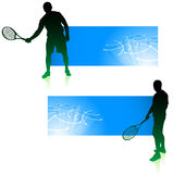 Tennis Player with Blue Banners Stock Photography