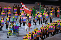 Tennis player Caroline Wozniacki carrying the Danish flag leading the Denmark Olympic team in the Rio 2016 Opening Ceremony Stock Photo