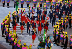 Tennis player Caroline Wozniacki carrying the Danish flag leading the Denmark Olympic team in the Rio 2016 Opening Ceremony Stock Images