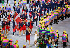Tennis player Caroline Wozniacki carrying the Danish flag leading the Denmark Olympic team in the Rio 2016 Opening Ceremony Royalty Free Stock Photos
