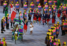 Tennis player Caroline Wozniacki carrying the Danish flag leading the Denmark Olympic team in the Rio 2016 Opening Ceremony Stock Photography
