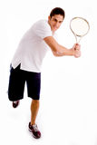 tennis player carrying racket Stock Images