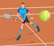Tennis Player. Cartoon style tennis player in vector Royalty Free Stock Image