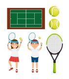Tennis player character racket balls court Royalty Free Stock Photos