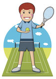Tennis Player on clay Vector Illustration Stock Images