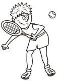Tennis player, coloring Stock Photos