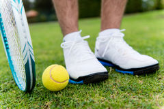Tennis player at the court Stock Images