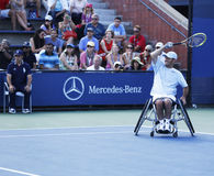 Tennis player David Wagner from USA during his US Open 2013 wheelchair quad singles match Stock Photo