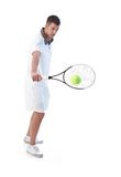 Tennis player doing backhand stroke. Young tennis player prepared for backhand stroke Stock Photos