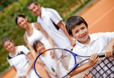 Tennis player and family Stock Photos