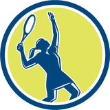 Tennis Player Female Racquet Circle Retro Stock Photo