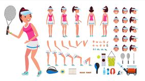 Tennis Player Female Vector. Animated Character Creation Set. Tennis Player Girl, Woman. Full Length, Front, Side, Back. View, Accessories, Face Emotions Royalty Free Stock Photography