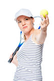 Tennis player focuses on the ball, portrait on a white Stock Images