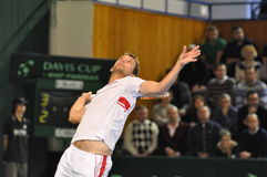 Tennis player Frederik Nielsen in action at a Davis Cup match Royalty Free Stock Image