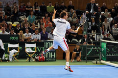 Tennis player Frederik Nielsen in action at a Davis Cup match Stock Image