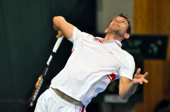 Tennis player Frederik Nielsen in action at a Davis Cup match Stock Photo