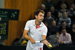 Tennis player Frederik Nielsen in action at a Davis Cup match Royalty Free Stock Photo