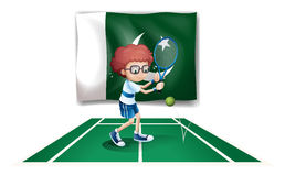A tennis player in front of the flag of Pakistan Stock Photos