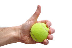 Tennis Player Giving Thumbs Up Sign Stock Photo
