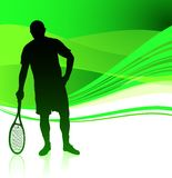 Tennis Player on Green Abstract Background Stock Image