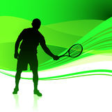 Tennis Player on Green Abstract Background Stock Photography