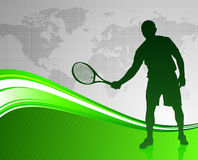 Tennis Player on Green Abstract Background with World Map Stock Image