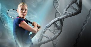 Tennis player with grey dna chain background and blue lights Stock Photo