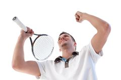 Tennis player happy for scoring Stock Photos