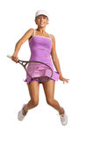 Tennis player. Happy young tennis player jumping into the air with a racket . isolated on white Stock Photos