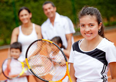Tennis player with her family Royalty Free Stock Photos