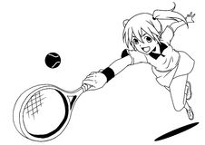 Tennis player hit the ball with racket. Illustration,,logo,ink,black and white,outline, on a white Royalty Free Stock Images
