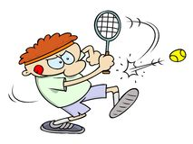 Tennis player hitting the ball. A concentrated tennis player with his tongue sticking out, hits the tennis ball. RGB  illustration with shades and white outlines Stock Image